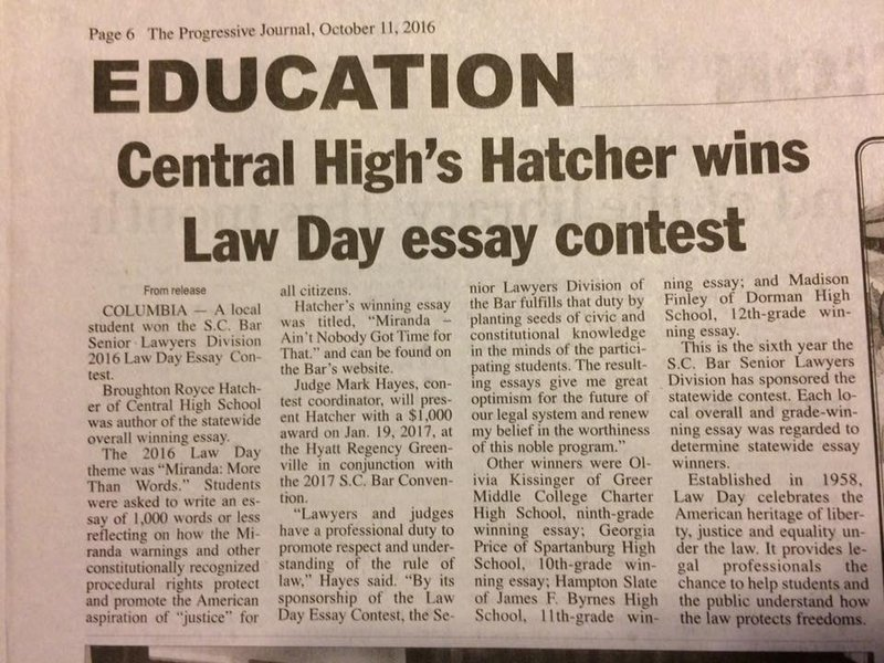 contest day essay law Law day 2017 essay contestlaw day 2017 essay contest in recognition of law day, the judiciary of guam, the district court of guam, and the guam bar association are sponsoring the annual law day essay contest.